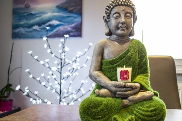 buddha, bougie, mini bougie, personnalisée, zen